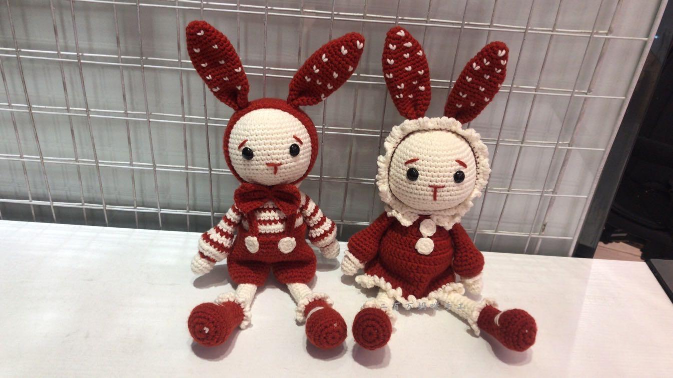 手工制作礼物毛线娃娃情侣玩偶兔d二百万妈咪纯手工钩针编织玩偶