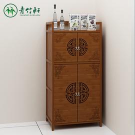 柜子储物柜餐边柜多功能经济型厨房置物架楠竹简易组装橱微波炉柜图片