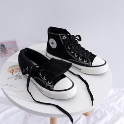 高帮加绒帆布鞋男女情侣款2020冬季新款平底时尚休闲鞋百搭板鞋潮
