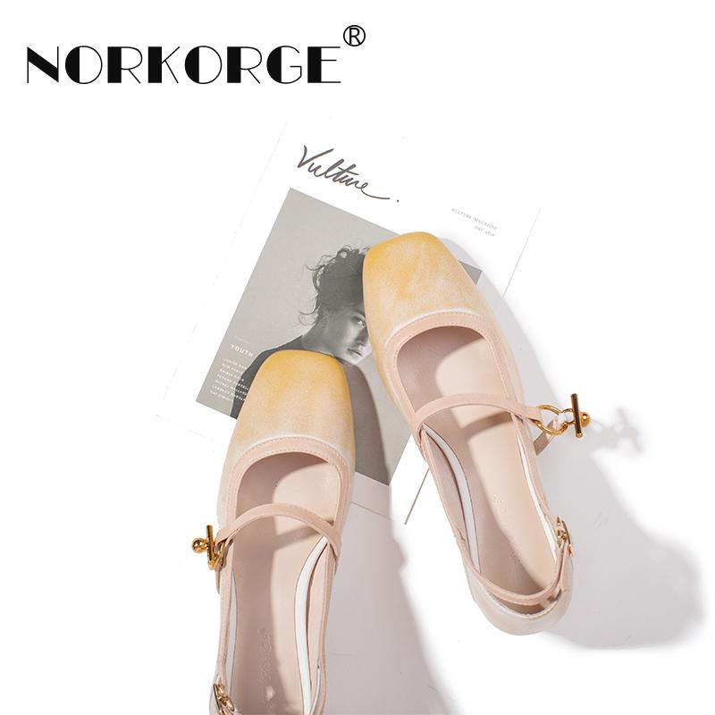 原创新款手工复古驼色玛丽珍女真皮方头粗跟中跟单鞋浅口温柔女鞋