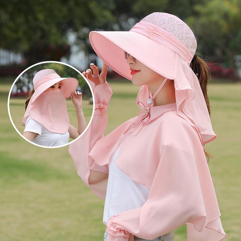 遮阳帽子女夏太阳防晒面罩凉帽户外防紫外线遮脸全脸百搭骑车大沿