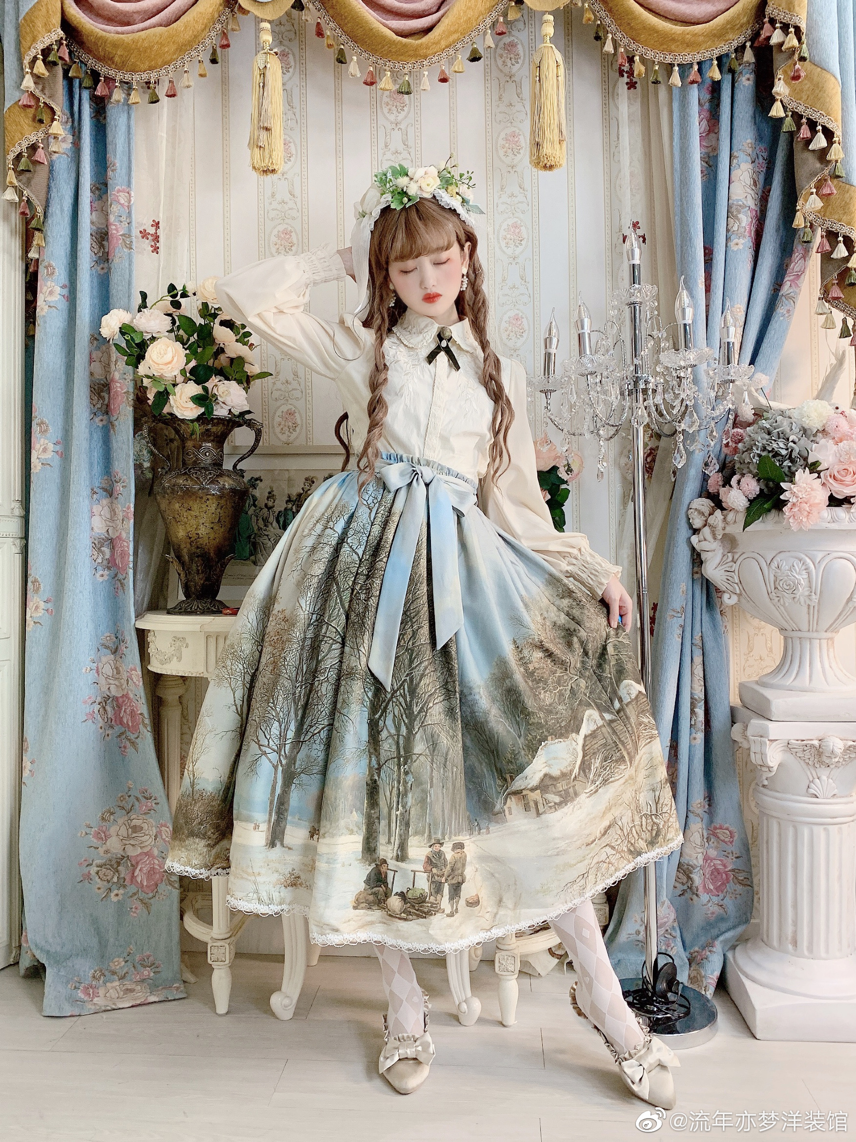 LiuNian Yimeng snow oil painting SK elegant sky blue dress half length dress original Lolita spot
