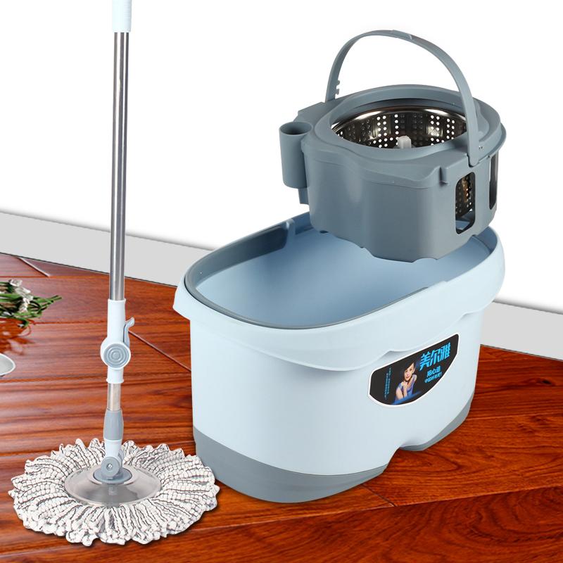 美尔雅拖布桶旋转拖把家用双驱动免手洗干湿两用懒人地拖甩干墩布