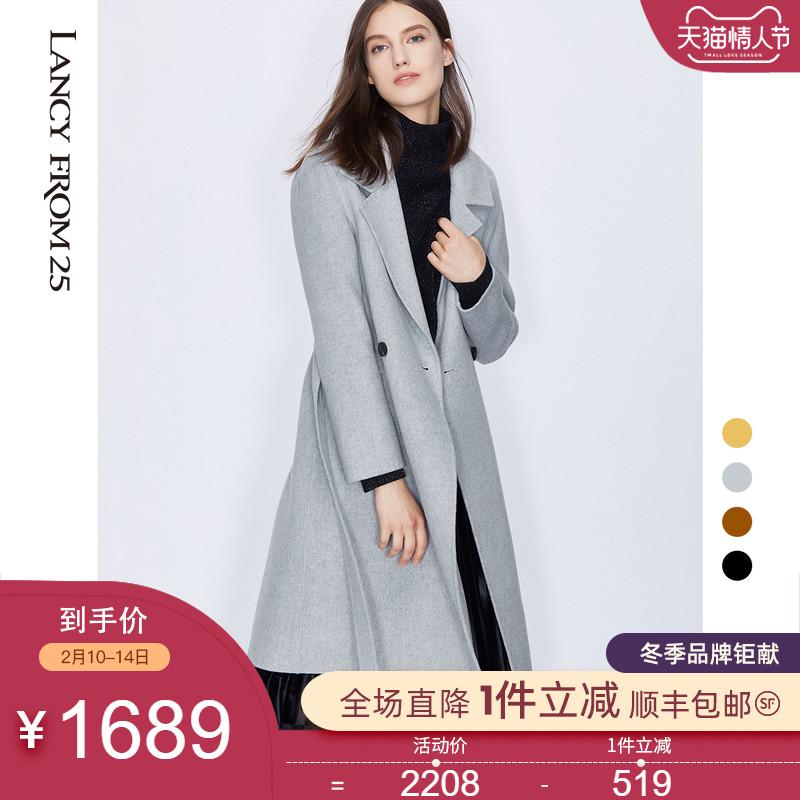 朗姿2019冬装毛呢外套女修身纯色西装领一粒扣双面呢子羊毛厚大衣