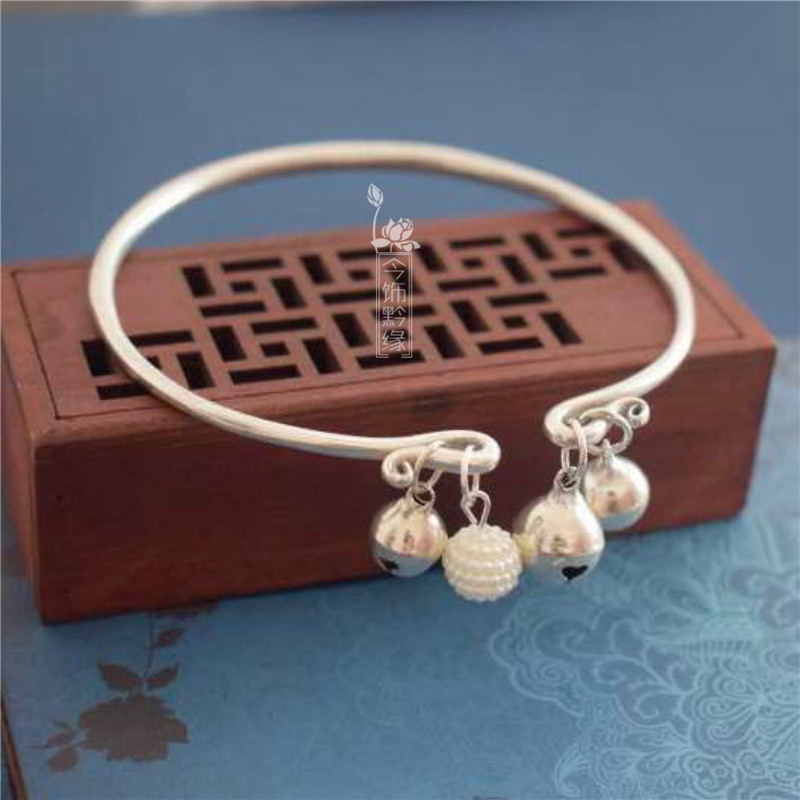 National retro style Nie Xiaoqian same style Anklet palace bell foot ring female Shuiyin bell foot chain Miao Silver Bracelet