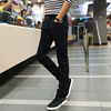 Stretch velvet autumn and winter men's jeans male Korean version of casual Slim feet thick long black pants trend