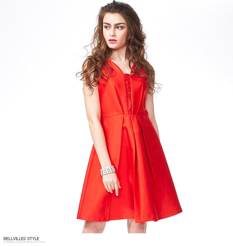 Bellvilles贝拉维拉春夏款女装纯色礼服连衣裙BYSIU7762