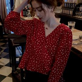 小野智恩 2020春款红衬衫V领设计感小众轻熟显瘦荷叶边雪纺衬衣女图片