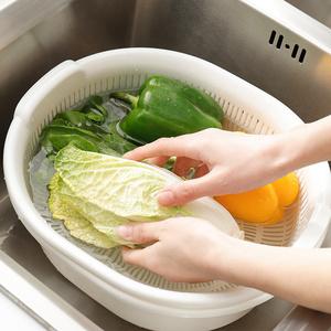 日本进口厨房双层塑料沥水篮洗菜盆碗碟果蔬清洗篮收纳筐套装