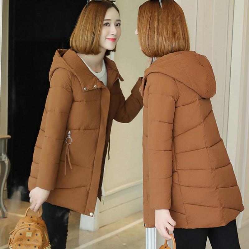 磨砂面料冬季棉衣女士中长款韩版加厚2019新款棉服连帽棉袄外套13