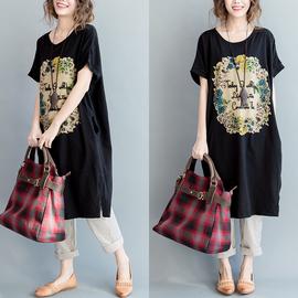 大码女装200斤胖妹妹短袖t恤夏季韩版纯棉植物印花钉珠文艺连衣裙图片