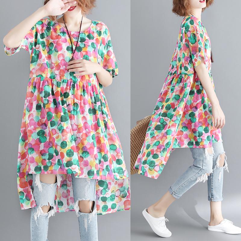 大码女装夏装藏肉连衣裙遮肚子显瘦减龄洋气胖妹妹中长款休闲时尚
