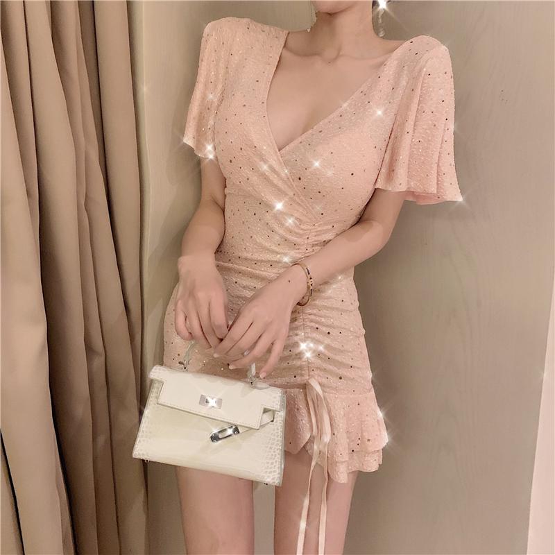 2019夏季新款性感亮片荷叶边裙子热销29件买三送一