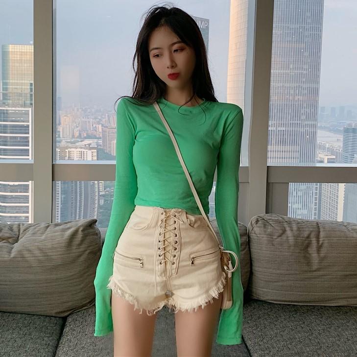 10月22日最新优惠2019秋夏季新款高腰短款露脐T恤韩版紧身薄款长袖防晒衫上衣女装