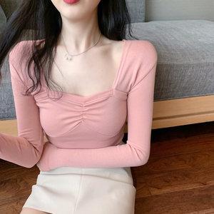 2019秋冬季新款低胸性感方领打底衫内搭修身短款长袖T恤上衣女装