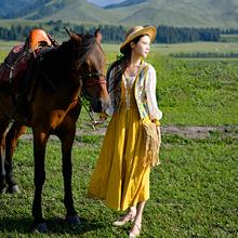 理想三旬旅行女装v领无袖新疆旅游民族风马甲女春秋外穿短款外套