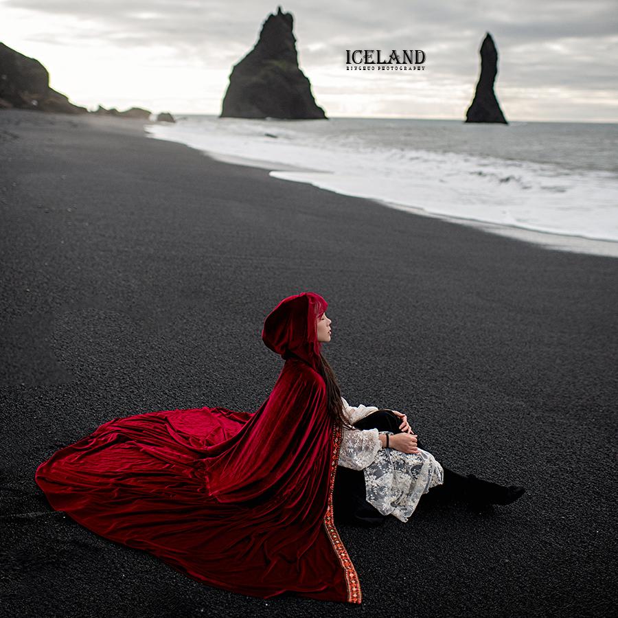 理想三旬旅行女装拼接长款中国风红色披肩女秋冬连帽斗篷加厚保暖