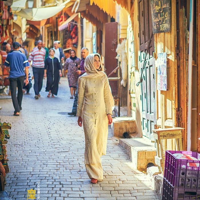 理想三旬摩洛哥旗袍改良亚麻盘扣女迪拜旅游衣服民族风女装夏套装
