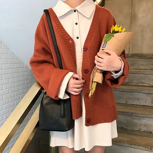 毛衣外套女2021春秋新款韩版宽松百搭V领单排扣长袖针织衫开衫潮