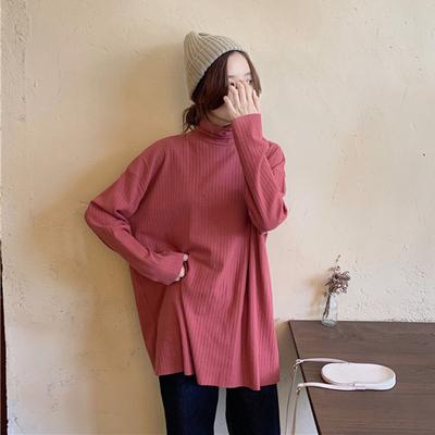 高领打底衫女秋冬新款宽松显瘦百搭上衣内搭条纹长袖t恤女中长款