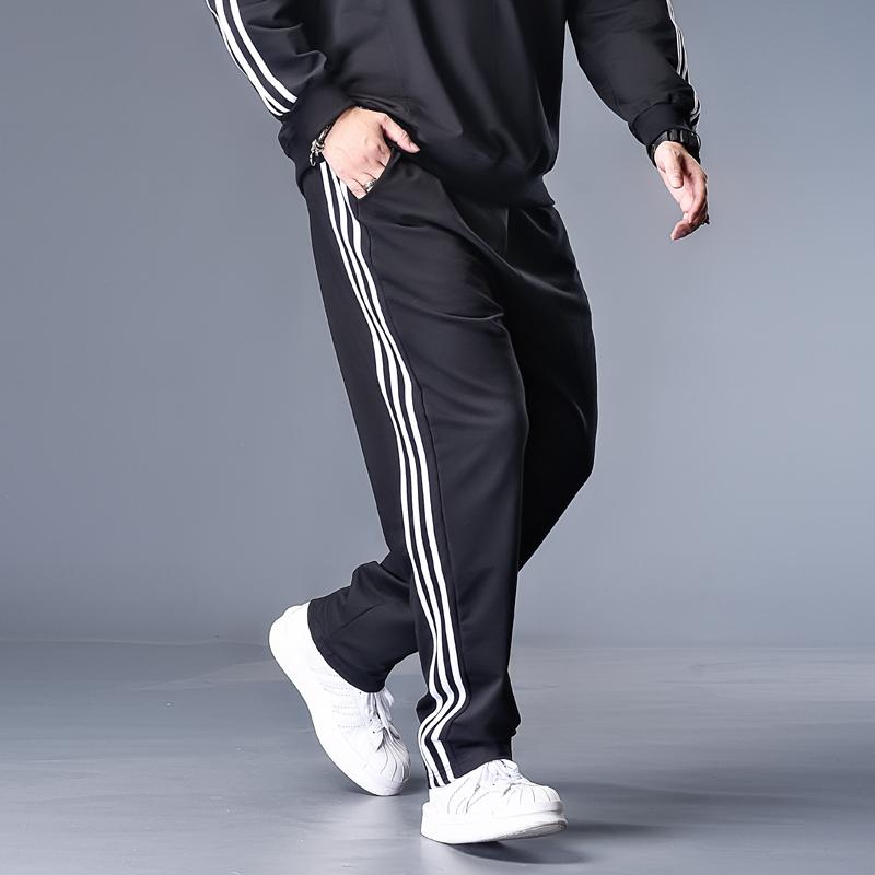 潮牌肥佬休闲裤男胖子加肥加大码宽松纯色直筒学生青少年运动长裤