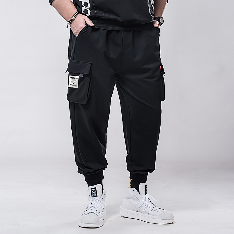 Large size, fatter, more elastic, high waist, Multi Pocket overalls, small foot, fat, bunched, sports, loose, casual pants