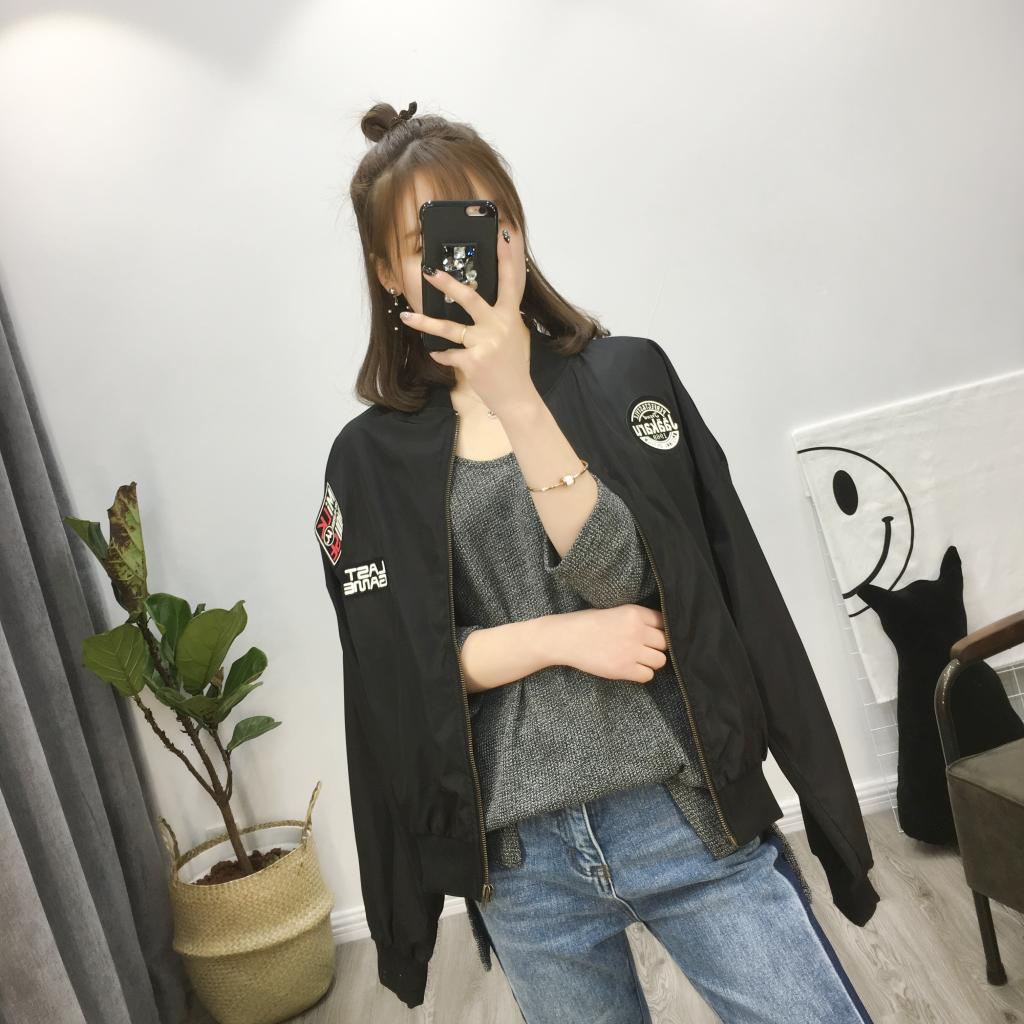 Free mail spring and Autumn New Korean version couples coat top loose long sleeve pilot badge jacket baseball uniform female