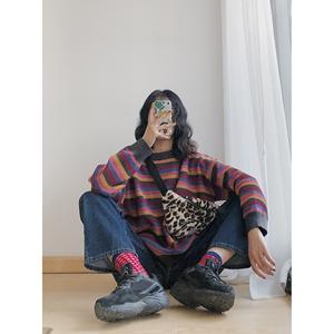 SILENCE 彩虹条纹毛衣女长袖休闲套头女装宽松潮流慵懒风圆领上衣