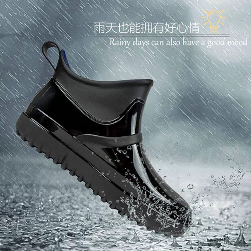 Fashionable mens rain shoes antiskid waterproof short tube low top rain boots car washing kitchen working site fishing rubber overshoes