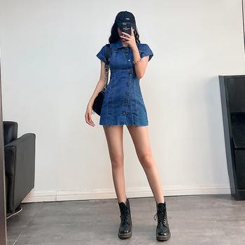 欧美风性感修身显瘦短袖牛仔裙连衣裙ins复古炸街超短裙女夏裙子