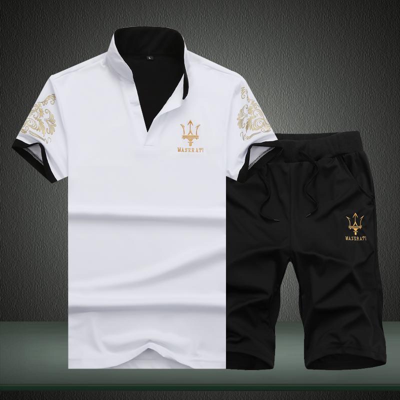夏季新款男装男士短袖t恤衫V领薄款修身青年学生运动休闲套装潮男,可领取元淘宝优惠券