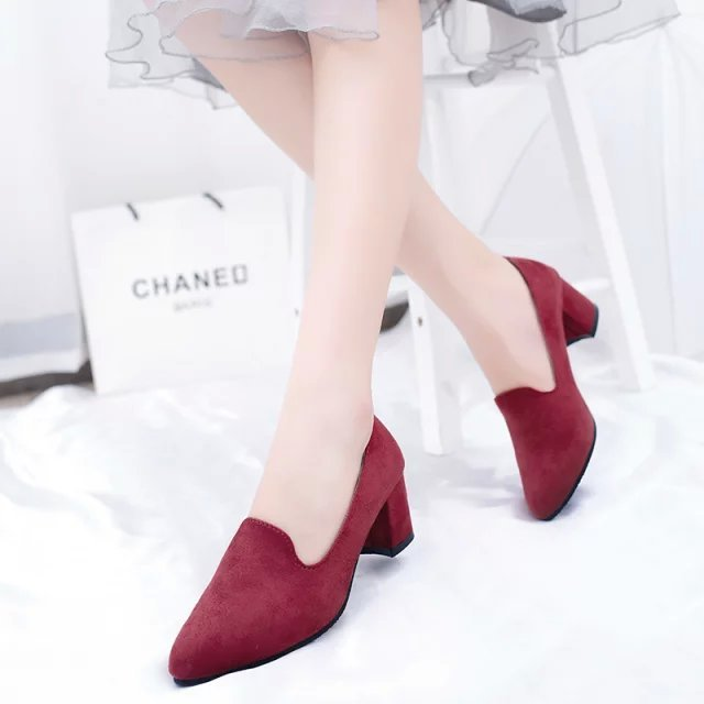Small size high heels 33 red 34 dark blue suede single shoes black pointed womens shoes simple commuting work shoes 41