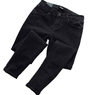 胖妹妹大碼女裝秋季新款高腰彈力黑色加絨牛仔褲女修身顯瘦小腳褲