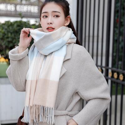 围巾女冬季韩版百搭格子仿羊绒披肩两用女学生长款保暖加厚围脖