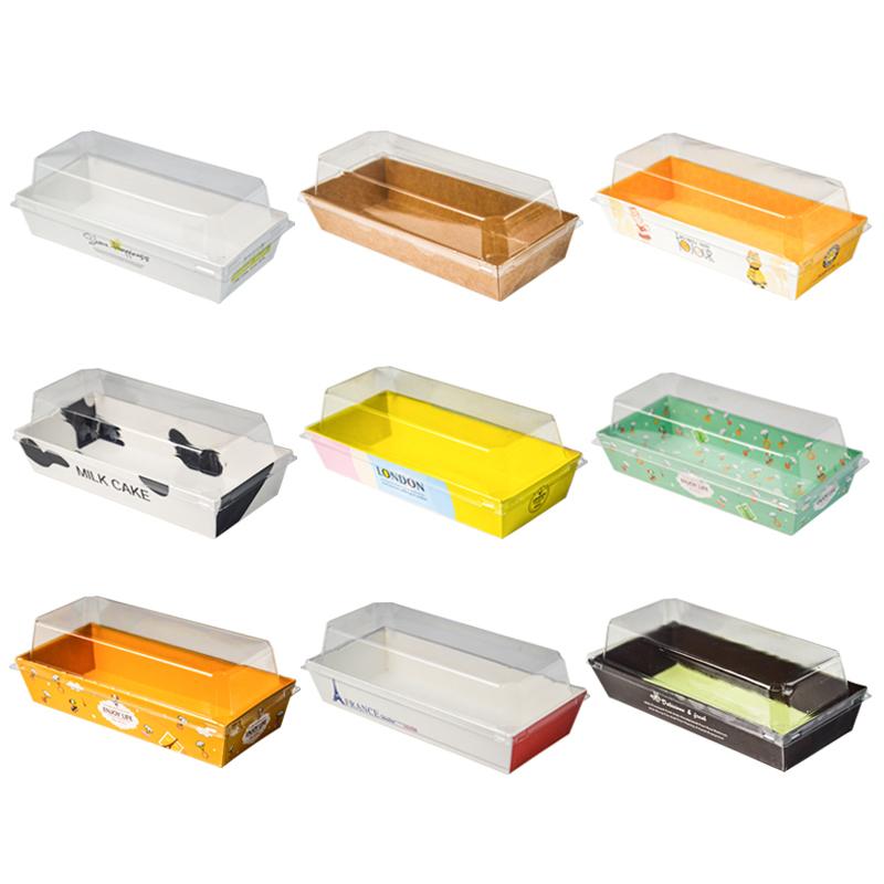 烘焙包装透明一次性长方形三明治盒班戟盒泡芙盒蛋糕毛巾卷包装盒