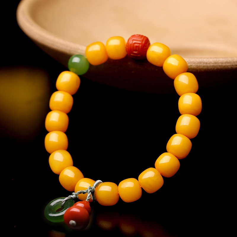 Amber beeswax bracelet about 8mm womens DIY old beeswax single ring bracelet with South Red Jasper Pendant simple jewelry