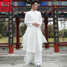 Chinese Tang Suit Improvement Han Suit Chinese Style Men's Suit Immortal Wear Dress Long Dress Zen Ancient Dress Long Shirt Summer