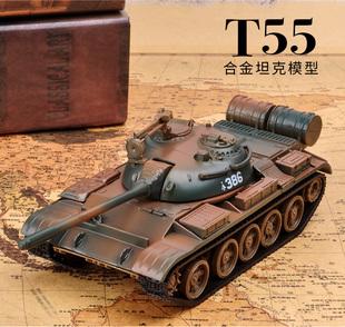 乐加T55合金坦克模型摆件1:43仿真金属59式军事战车玩具坦克世界