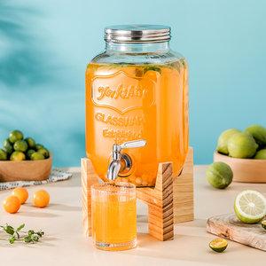 4升8升玻璃瓶 木架子字母果汁罐玻璃带龙头不锈钢盖泡酒瓶密封罐