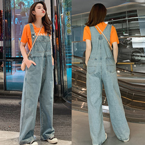 泫雅风背带裤减龄170宽松阔腿拖地175女装直筒180高个子女生长裤