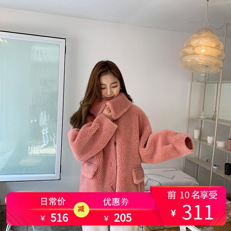 韩都衣舍2020春装新潮女装宽松气质加厚毛外套环保皮草女款短外套