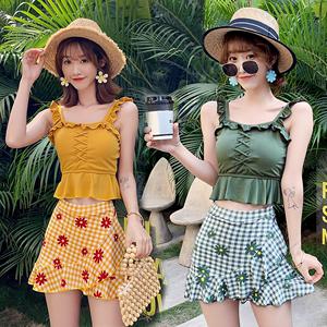 泳衣女夏分体裙式平角两件套小清新学生保守小胸韩版显瘦游泳装