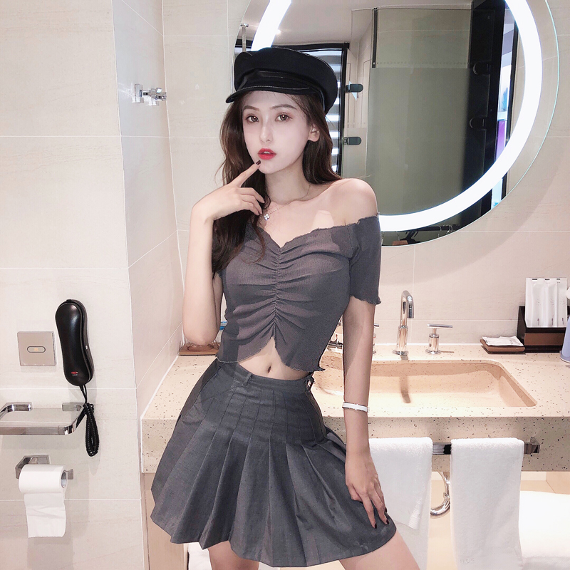 Real price Hong Kong style small sexy short one shoulder pleated wooden ear edge knitted short sleeve V-neck T-shirt for women