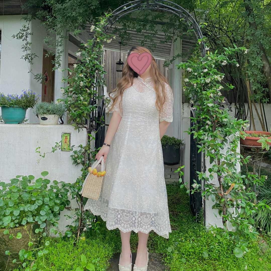 胖缘缘微胖  2021夏季中长款气质长袖改良版旗袍连衣裙YY5115