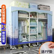 衣柜简易布衣柜钢管加粗加固单双人组装宿舍布艺收纳衣柜子经济型