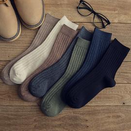 袜子男潮纯棉秋冬防臭吸汗男士中筒男袜秋季复古日系棉线纯色长袜