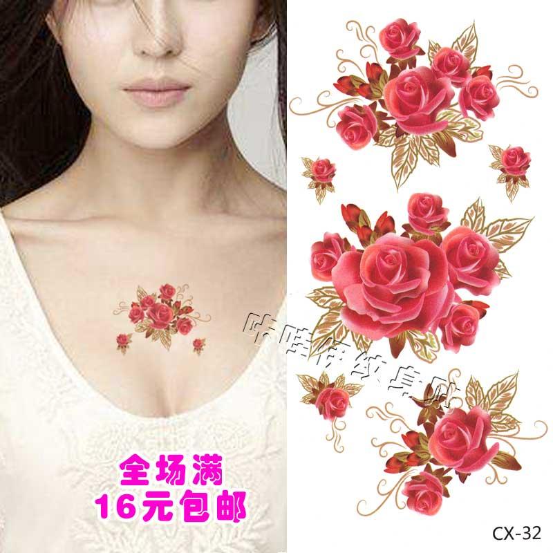 红色玫瑰花可爱女孩花朵纹身贴纸贴