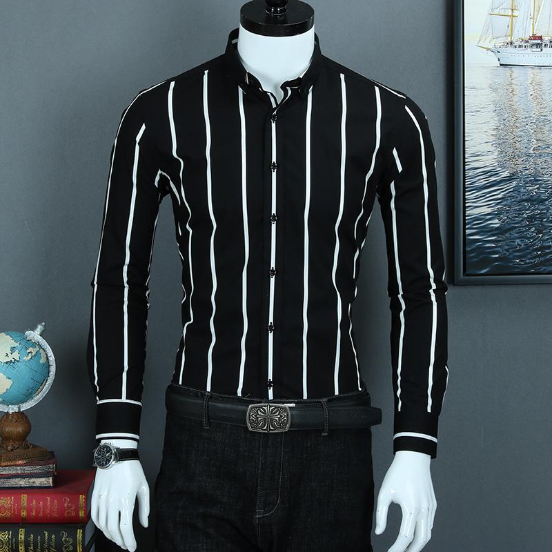 秋季纯棉黑白条纹男长袖修身寸衬衫限90000张券
