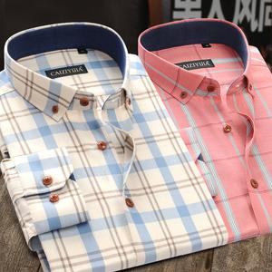 春季长袖格子衬衫外套男士纯棉休闲寸潮流帅气男韩版修身港风衬衣