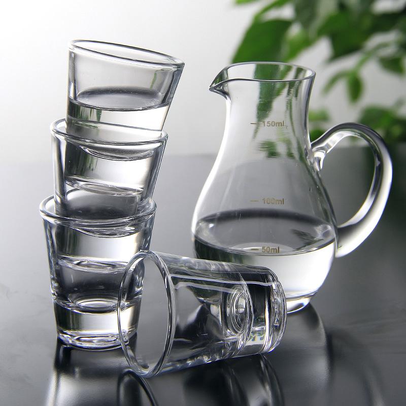 意德麗塔白酒杯套裝玻璃烈酒杯子彈杯一口吞杯圓形小酒杯6隻套裝